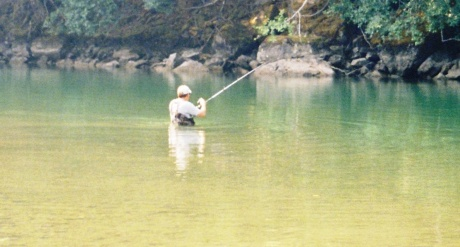 Michael Schuett in a river
