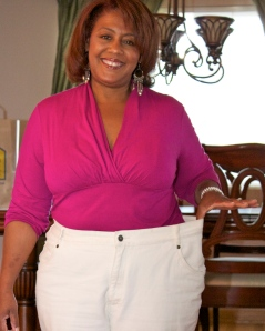 Sonja's lost over 30 pounds and even more since this pic was shot in July 2012.