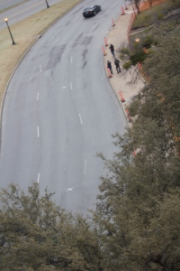 View of target location in Dealey Plaza with zoom lens.