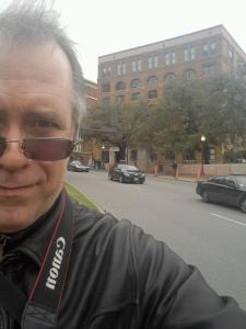 I walked all over Dealey Plaza. Here, the Book Depository is in my background.
