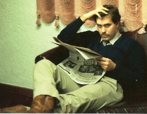 The author taking a break at his 3rd radio job in 1986 when my income rose to the grandiose level of $1000 per month.